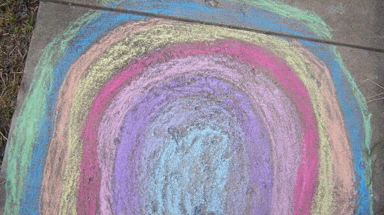 coronavirus chalk rainbow